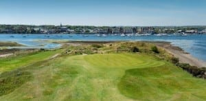 the edge of Island Golf Club near the river. the town located in another side of the river