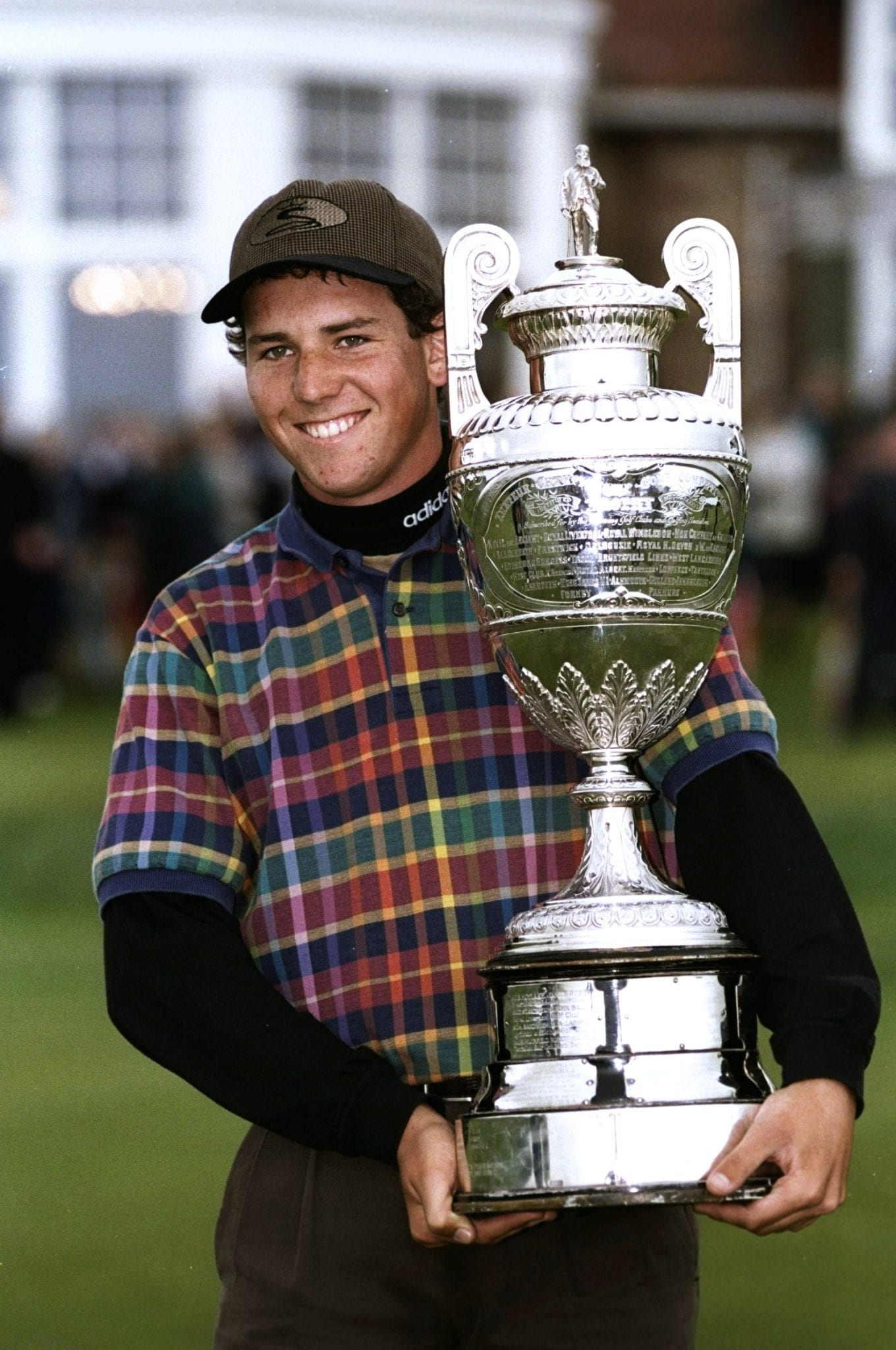 6 Jun 1988: Sergio Garcia of Spain holds the trophy after his victory in the British Amateur Championship at Muirfield Golf Club in Scotland. Mandatory Credit: Andrew Redington/Allsport